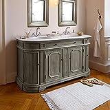 Loberon Waschtisch Pembroke, Korpus: Kiefernholz, Platte: Marmor, Becken: Keramik, H/B/T ca. 87/160/60 cm, Grau/Weiß