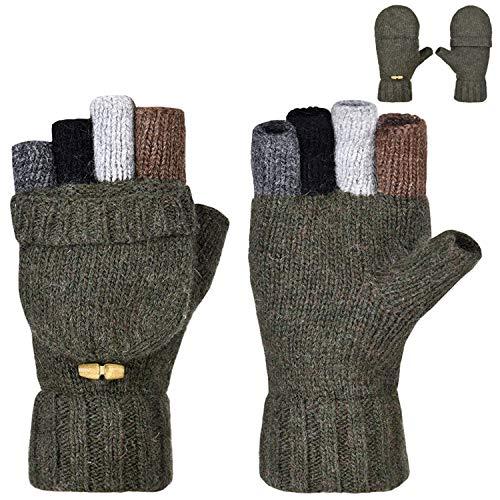 Petrunup Winter Warm Fingerless-Gloves-Damen Wollmischung Strickhandschuhe Damen Half Finger Armeegrün - Fleece-flap Hat