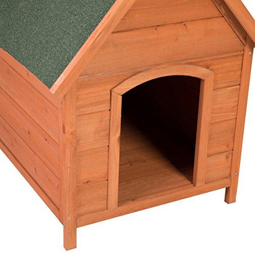 Ribelli Wetterfeste Hundehütte aus Braunem Tannenholz mit grünem Spitzdach – Hundehaus Hundehöhle mit Abnehmbarem Dach, ca. 66 x 82,5 x 74 cm - 6