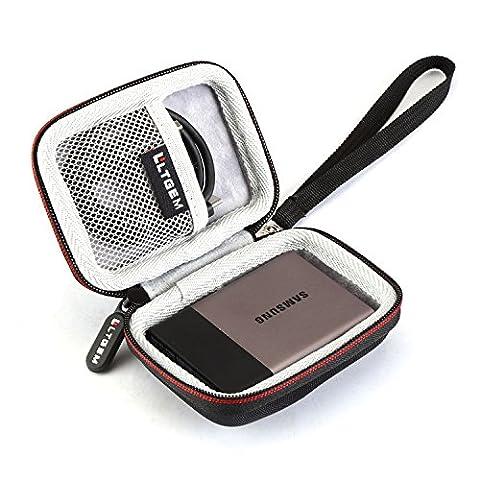 LTGEM EVA Hard Case Housse de Transport de Protection pour Samsung T3 Portable 250 Go 500 Go 1 To 2 To SSD USB 3.0 Externe Solid State Drives Sac de Voyage de Stockage Antichoc-Noir