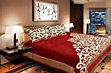 Fresh From Loom Premium 500 TC Chenille Double Bedsheet with 2 Pillow Covers - Abstract, Red
