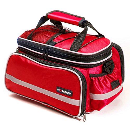grofitness Fahrrad hinten Sitz Tasche Mountain Bike Carrier Gepäckträgertasche mit reflektierendem Rand/Wasserdichte Abdeckung Rot