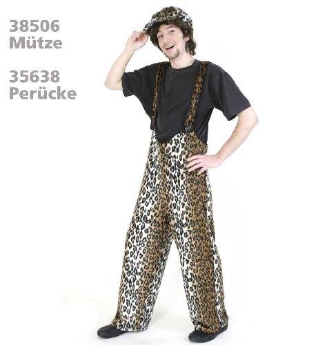 Leopard Hose Leo Plüsch Trägerhose Leopardhose Plüschhose Unisex XL