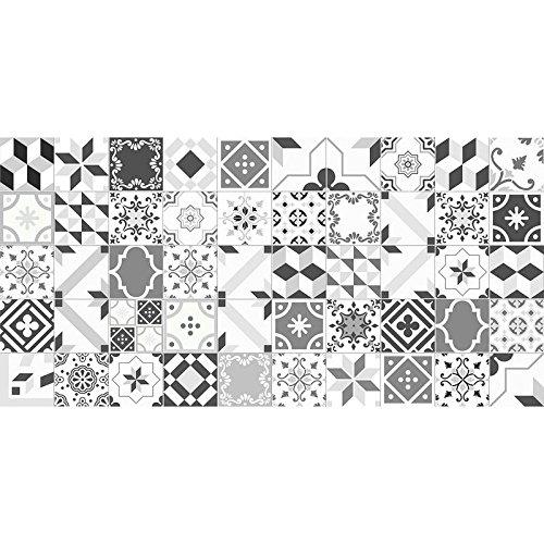 Flooralia - Alfombra Vinilica Extra Grande Patchwork- 295X195cm- Gris