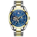 Montre homme Creux Mécanique Automatique de marque montres étanche table masculine (Blue)