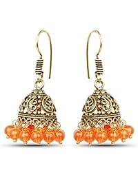 Johareez Brass Jhumki Earrings With Orange Colored Beads