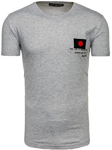 BOLF Herren T-Shirt Tee Kurzarm Print Slim Fit Casual Party Rundhals 3C3 Motiv Grau