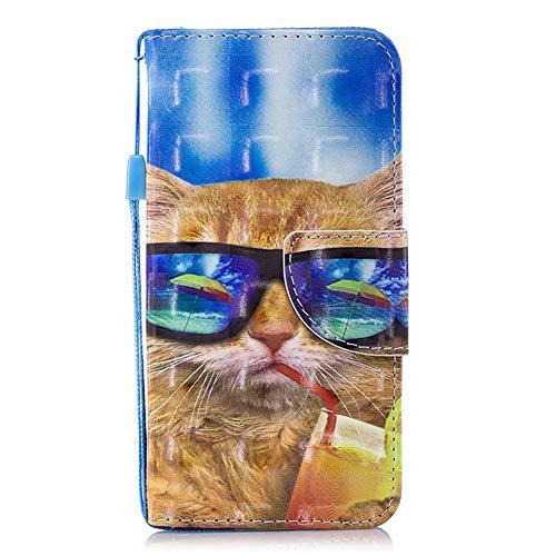 Edaroo iPhone 5S Tasche Lustig Comic Karikatur Cartoon Sonnenbrille Katze Motiv PU Leder Brieftasche Schutzhülle Klappbar mit Magnetverschluss Kartenfächer Standfunktion für iPhone 5/5S & iPhone SE