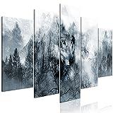 decomonkey Akustikbild Wald Wolf 225x112.5 cm 5 TLG. Bilder Leinwandbilder Wandbilder XXL Schallschlucker Schallschutz Akustikdämmung Wandbild Deko leise Landschaft Tiere Natur