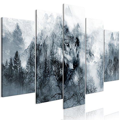 decomonkey Bilder Wald Wolf 200x100 cm 5 TLG. Leinwandbilder Bild auf Leinwand Vlies Wandbild Kunstdruck Wanddeko Wand Wohnzimmer Wanddekoration Deko Landschaft Tiere Natur -