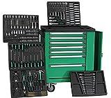 XXL Werkstattwagen Special Edition Green Line - grün - 5 von 7 Schubladen gefüllt mit Werkzeug - Werkzeugwagen rollbar