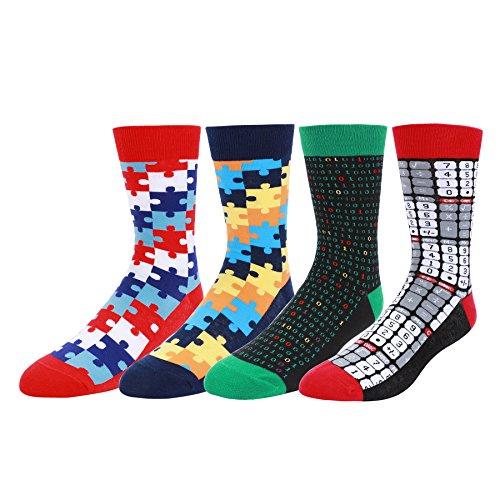 WYTartist Bunte Socken für Herren - Neuheit-Spaß-kühle farbige Baumwollbeiläufige hohe Socken (Blocks) (Kleid Herren Baumwolle Socken)