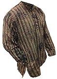 Shopoholic Fashion unisex stonewashed gestreift Leicht Hippy Großvater Shirt - grün mix, XXXX-Large