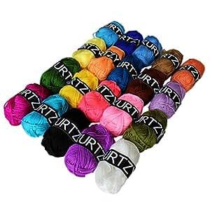 filato per uncinetto - filato acrilico per uncinetto 20 Pcs - Filato di lana in colori assortiti -filato cotone uncinetto per maglieria maglioni, cardigan, vestiti, coperte e altro