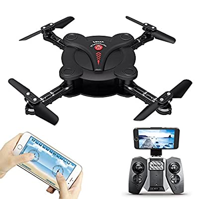 Pocket Foldable WIFI FPV Drone With Camera RC Quacopter Aircraft Remote & APP Control Headless Mode Altitude Hold Mode With Remote Controller