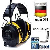 Elettronica protezione per l'udito con radio stereo (8 trasmettitore memoria) e ingresso audio per lettori mp3 / telefono/smart phone