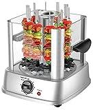 Vertical Electric Grill Chicken Kebab Maker Rotisserie Meat Vegetable Machine + 10 Skewers