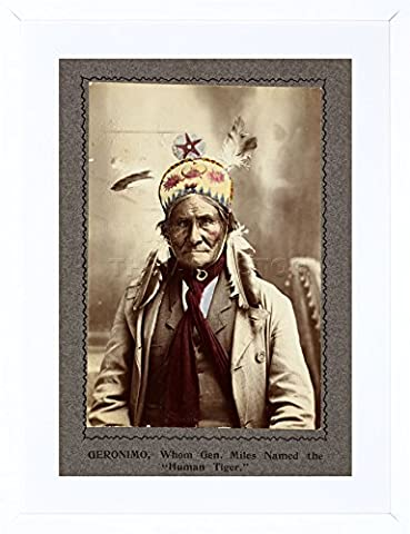 9x7 '' PHOTO CHIEF GERONIMO NATIVE AMERICAN INDIAN FRAMED ART PRINT F97X1745