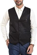 OORA Men's Poly Viscose V-Shape Tuxedo Style Waistcoat