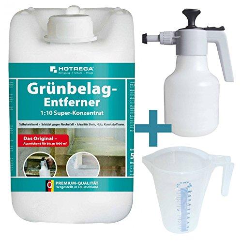 HOTREGA - Grünbelag- Entferner - Super-Konzentrat 5L SET + Druckspritze 1,5L + Messbecher 1L