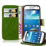 Cadorabo Hülle für Samsung Galaxy S4 Mini - Hülle in Gras GRÜN – Handyhülle im Luxury Design mit Kartenfach und Standfunktion - Case Cover Schutzhülle Etui Tasche Book