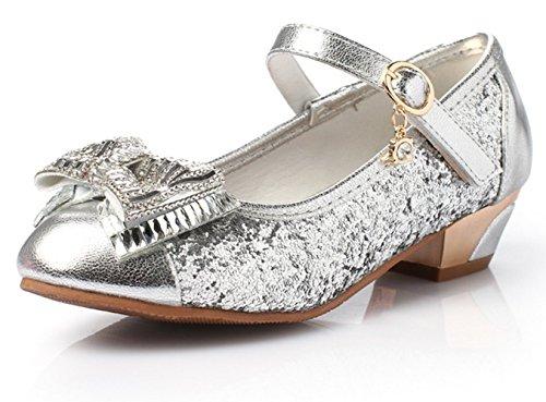 Ohmais Enfants Filles Chaussure cérémonie Ballerines à bride Fête Demoiselle d'honneur Mariage Escarpin à petit talon Argent