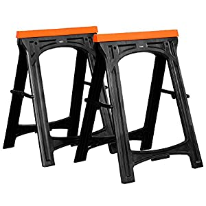 VonHaus Folding Saw Horse Trestle Twin with Rubber Inserts Support Bars Pack Huge 150kg Max Load | Cutting Stands Corrosion and Weather Resistant