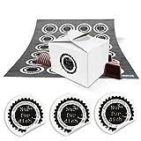 24 kleine weiße Geschenkschachtel für Pralinen, Plätzchen, Süßigkeiten Muffins 8 x 6,5 x 5,5 + runde Aufkleber NUR FÜR DICH schwarz weiß für Gastgeschenke, Mitgebsel, give-aways,...