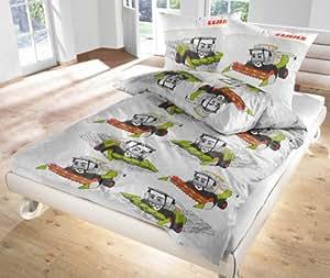 IDO parure de lit en coton renforcé gris 2 cLAAS 47729–200 enfants jeunesse parure de lit housse de couette 80 x 80 cm/200 x 135 cm