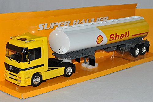 Mercedes-Benz Actros 1857 Tanklaster Shell LKW Truck Gelb 1/32 Welly Modell Auto (Shell Lkw)