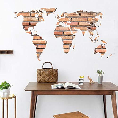 Ziegel Weltkarte Wandaufkleber Für Kinderzimmer Kreative Tapete Küche Badezimmer Wohnkultur Wandtattoos Poster Wandbilder