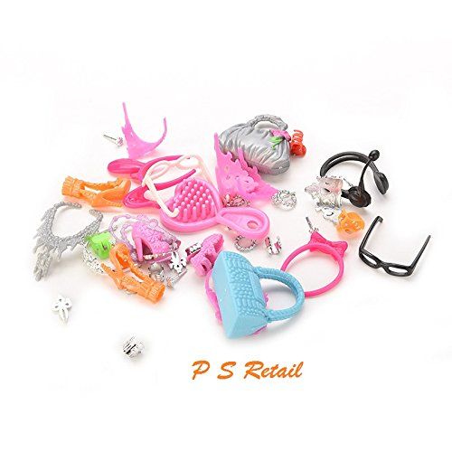 P S Retail Barbie Doll Set of Fashion Jewelry Necklace Earring Bowknot Crown Accessory Dolls Kids Gift