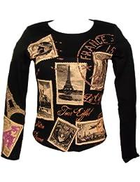 Souvenirs de France - T-Shirt Femme Paris Manches Longues - Couleur : Noir