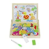 Lavagna Classica Puzzle Magnetici di Legno Giocattoli A Due Lati Del Tavolo da Disegno per Bambini 3+ immagine