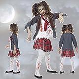 Zombiekostüm Kinder Schulmädchen Kostüm S 116 3 – 5 Jahre Kinderkostüm Zombie Kostüm Untote Horrorkostüm Schülerin Halloween Mädchenkostüm