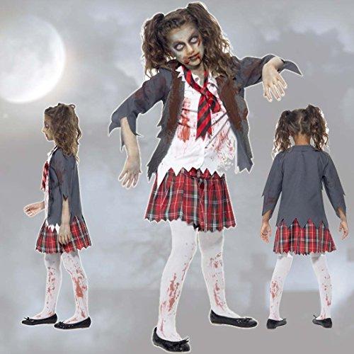 Costume morto vivente bambini travestimento scolara zombie m 134/140 cm (6 - 8 anni) - outfit zombi scolaro vestito horror party per ragazze abito horror alunna mascheramento halloween ragazzina