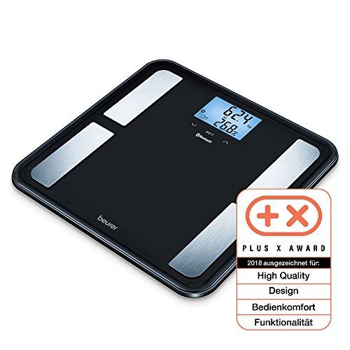 Beurer BF 850 Diagnosewaage, extra große Trittfläche, Vernetzung von Smartphone und Waage per App, Ermittlung von Körperfett, Muskelanteil, schwarz