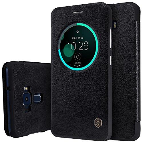Meimeiwu Haute Qualité Leather Portefeuille Case - Ultra-mince Étui Housse Coque en Flip Cover avec Conception pour Asus Zenfone 3 ZE552KL - Noir