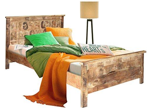 Loft24 ABC Bett 160x200 cm Doppelbett Schlafzimmer Bettgestell Bettrahmen Massivholz Buchstaben handgefertigt