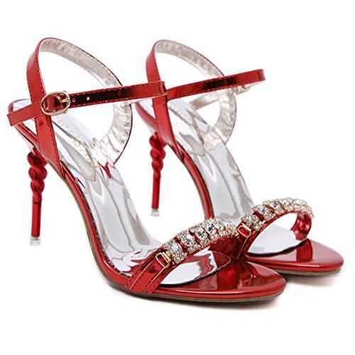 Strass scarpe da 10cm sandali degli alti talloni Fashion Night Club gules