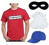 2Store24 Kostüm für Panzerknacker - Komplett Set: Herren T-Shirt mit Wunschnummer in XL + Cap + Maske + Handschuhe