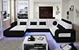 SAM Design Wohnlandschaft New York mit LED Beleuchtung in Weiß & Schwarz inkl. Kissen, abgestepptes...