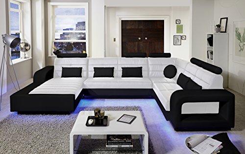 SAM Design Wohnlandschaft New York mit LED Beleuchtung in Weiß & schwarz inkl. Kissen, abgestepptes Design, bequeme Polsterung, pflegeleicht,...