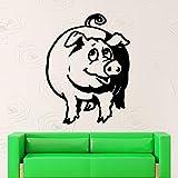 Cochon Vinyle Mur Art Autocollants Salon Décoration Drôle Animal Stickers Muraux...