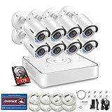 ANNKE POE Überwachungskamera Set, 1080P 8CH NVR + 8 * 960P Überwachungskamera mit 1TB Überwachungsfestplatte,Playback,Fernzugriff,Bewegungserkennung