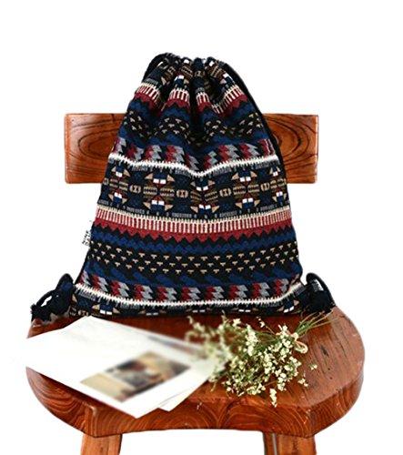 Imagen de demarkt 1x diseño de geométrico  simple estilo bohemian style tela doble bolsa con cordón bolsa de playa bolsa reutilizable gran capacidad multi fonctionnels bolsa en lienzo,34*41cm