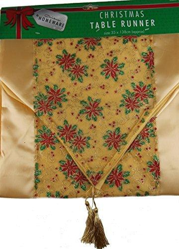 tia Flower Christmas Table Runner - 150 cm x 35 cm by DW (Red Christmas Table Runner)
