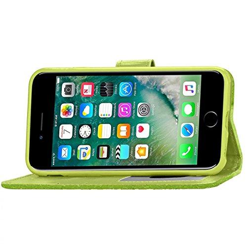 iPhone 7 Coque, Apple iPhone 7 Coque, Lifeturt [ Vert ] Motif Pure Couleur Housse en Cuir Case à Avec La Fonction Stand Coque de Intérieure Protection Souple Coque Portefeuille TPU Silicone Case Cover E2-Vert