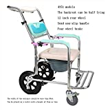 ARQG foldable shower chair chairs - Old Man With Wheeled Toilet Seat Lift Armrest Toilet Seat Backrest Adjustable Bath Chair Disabled Wheelchair Care Chair -Bath Stools (Size : 2)