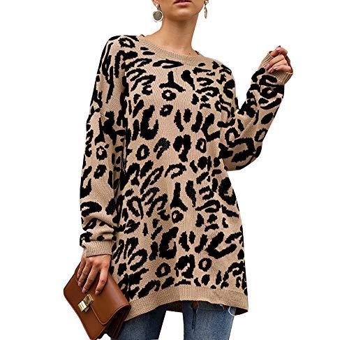 Sudadera de Manga Larga con Estampado de Leopardo para Mujer Beige Caqui M